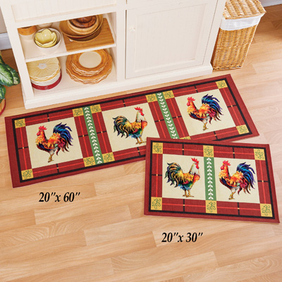French Country Rooster Accent Rug