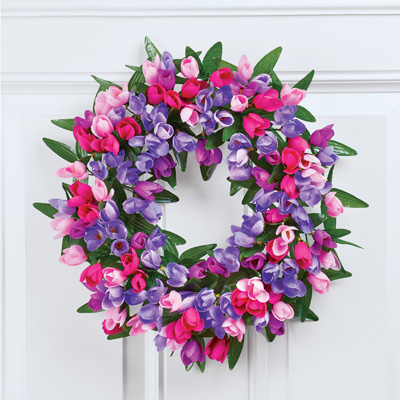 Lush Pink and Purple Mini Tulip Floral Wreath
