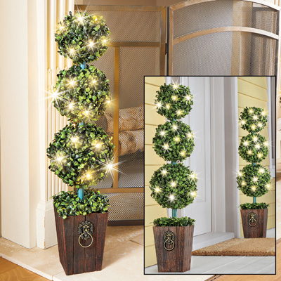 Lighted Boxwood Topiary with Faux Wooden Planter
