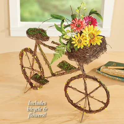 Twig Style Floral Bicycle Tabletop Decoration