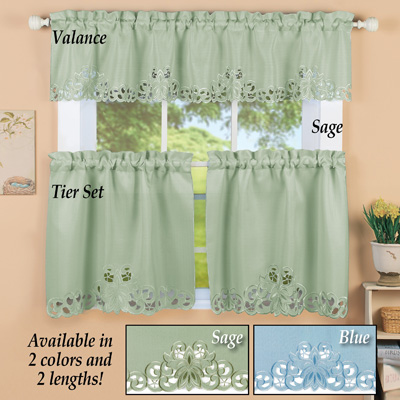 Scroll Embroidered Cutout Window Curtains