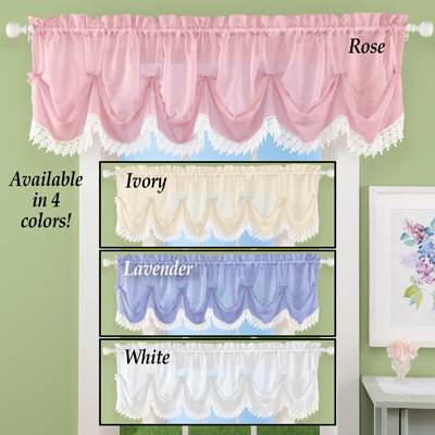 Sheer Leaf Lace Trim Window Valance