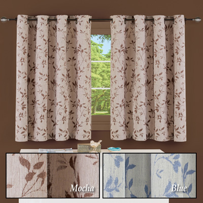 Grommet Top Woven Leaf Pattern Short Curtain Panel