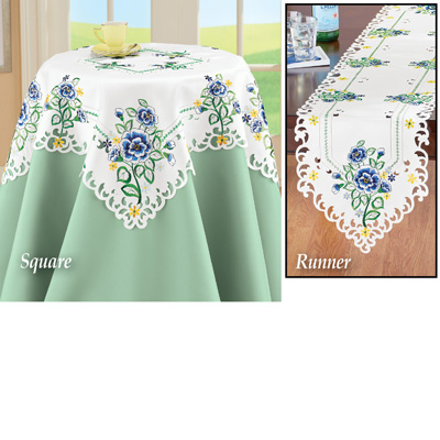 Blooming Blue Wildflowers Cutout Table Linens