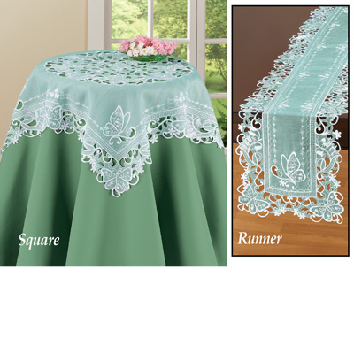Organza Embroidered Butterfly Table Linens