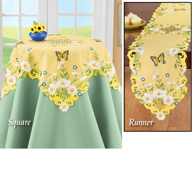 Daisies and Butterfly Yellow Table Linens