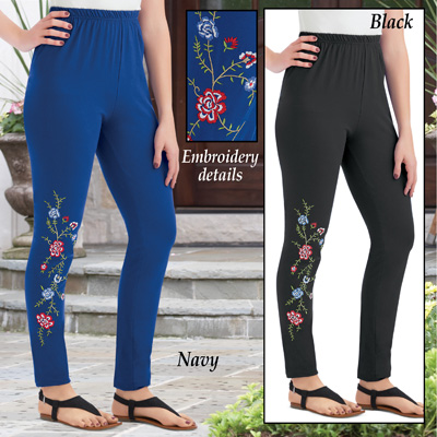 Embroidered Floral Design Jersey Knit Leggings