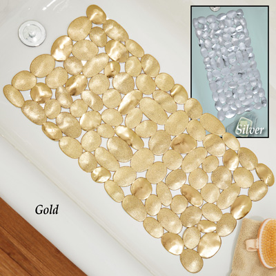 Metallic Rock Design Bathtub Mat with Suction Cups