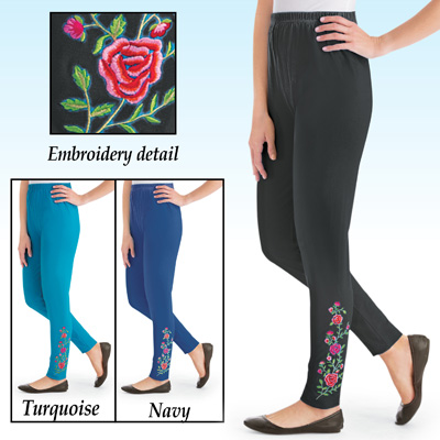 Rose Floral Embroidered Jersey-Knit Leggings