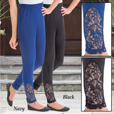 Lace Accent Ankle Leggings with Elastic Waistband