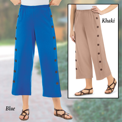 Knit Side-Button Cropped Pants with Button Accents