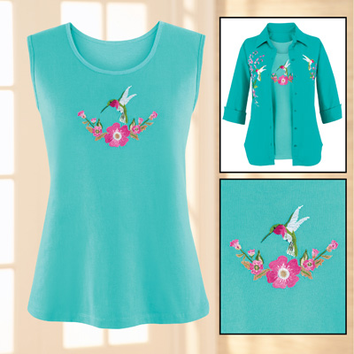 Turquoise Hummingbird Embroidered Tank Top