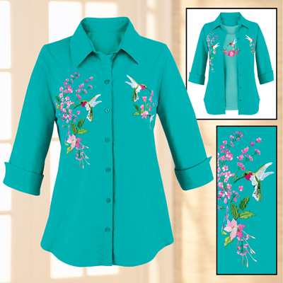 Turquoise Hummingbird Embroidered Button Front Shirt