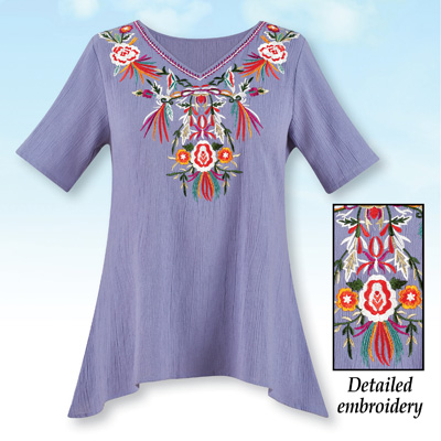 Embroidered Floral Short Sleeve Sharkbite Tunic