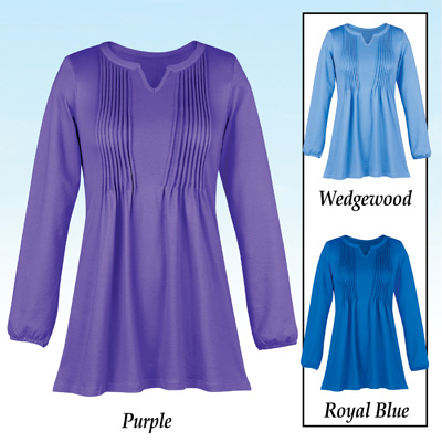 Knit Pintuck Tunic with Pleated Bodice