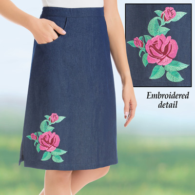 Embroidered Rose Knee Length Denim Skirt