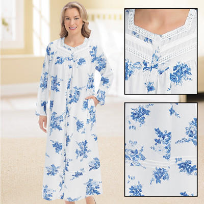 Floral Lace Trim Comfortable Cotton Robe