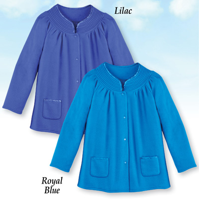 Soft Fleece Snap Front Bed Jacket
