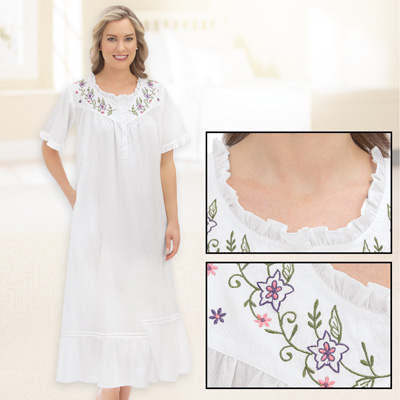 Cotton Nightgown with Floral Embroidery