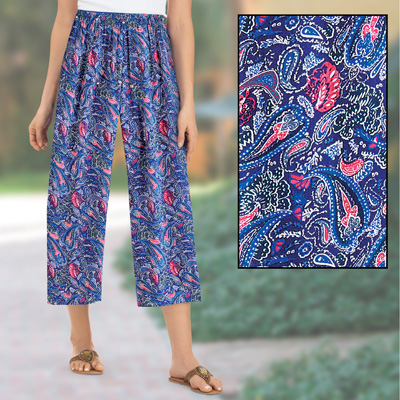 Multi-Color Paisley Printed Flowy Capri Pants