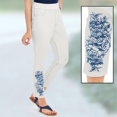 White Ankle Jeans with Blue Floral Print Accent
