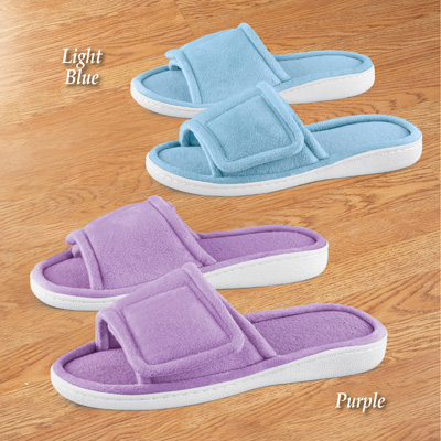 Adjustable Plush Terry Slippers with Rubber Soles