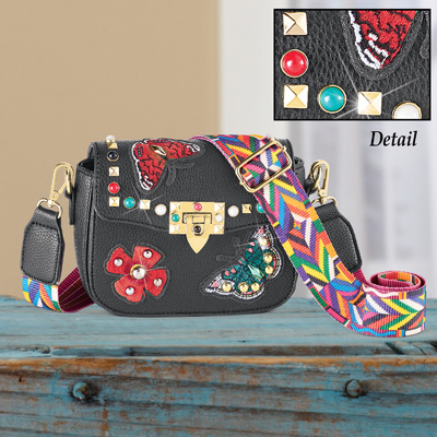 Butterfly and Beaded Handbag with Gold Accent