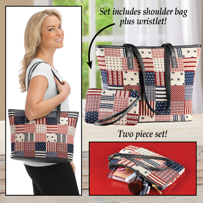 Patriotic Shoulder Bag and Matching Wristlet