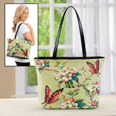 Floral Butterfly Print Over-The-Shoulder Handbag