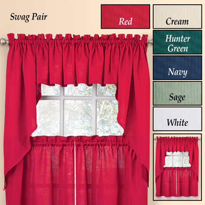 Solid Textured Swag Window Curtain Set