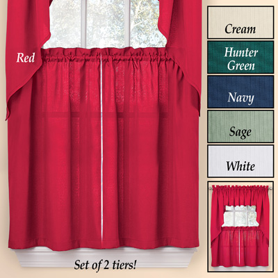 Solid Textured Tier Window Curtain Pair