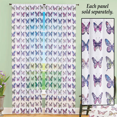 Butterfly Print Window Curtain Panel