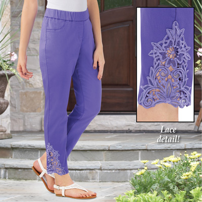 Purple Lace Inset Ankle Pant with Faux Pockets