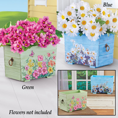 Wooden Floral Decor Hand-Painted Planters