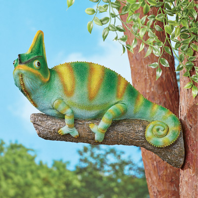 Chameleon on Branch Figurine and Tree Mount