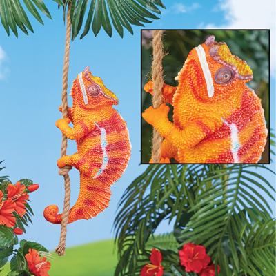 Climbing Chameleon with Rope Hanging Decoration
