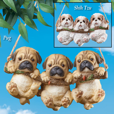 Three Dogs on Log Swing Hanging Tree Decoration