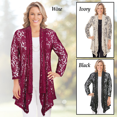 High-Low Floral Lace Drape Front Cardigan