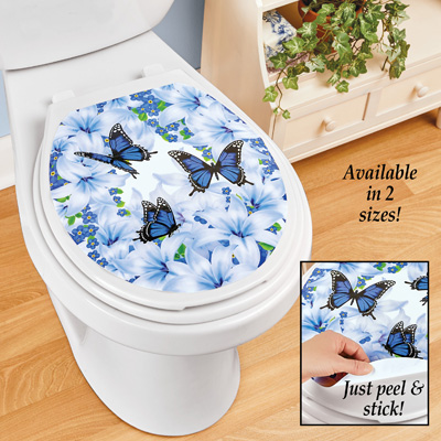 Lily Butterfly Garden Peel-and-Stick Toilet Decal