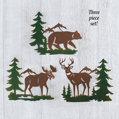 Northwoods Woodland Animals Wall Trio - Set of 3