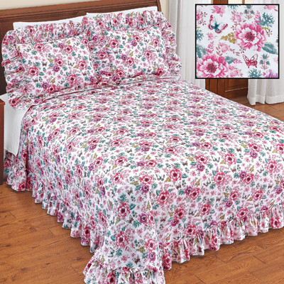 Emily Plisse Floral Ruffled Bedspread