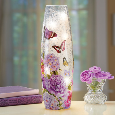 Butterfly with Floral Hurricane Table Lamp