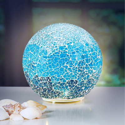 Lighted Blue Mosaic Ball Tabletop Decoration