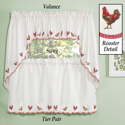 Embroidered Roosters Window Curtains