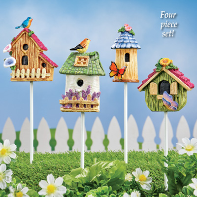 Whimsical Miniature Birdhouse Stakes - Set of 4