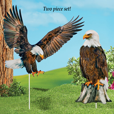 Bald Eagle Yard Stakes - Set of 2