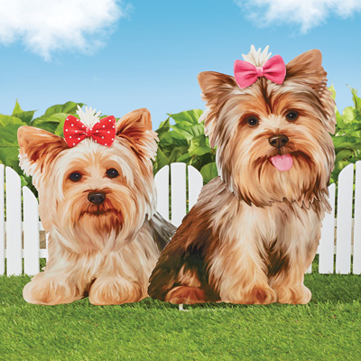 Realistic Yorkie Photo Decorative Yard Stake