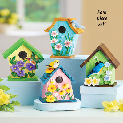 Hand-Painted Birdhouse Sitters - Set of 4