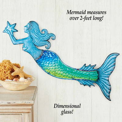 Glass Accented Mermaid Wall Decoration