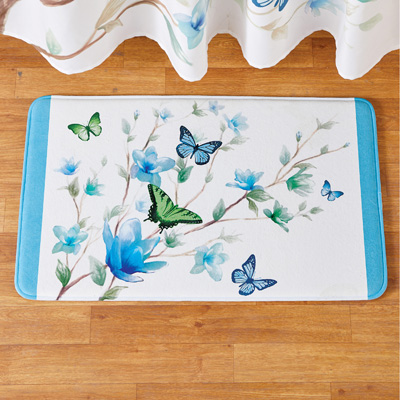 Blue Butterfly Blossoms Skid-Resistant Bath Mat